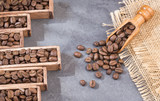 Roasted coffee - Statistical table of sale and consumption of coffee. top view - 221476526