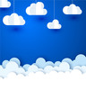 Blue background with white paper decorative clouds. - 221483159