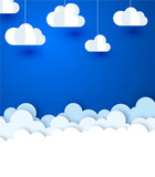 Blue background with white paper decorative clouds.