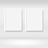 Empty frames on the wall in gallery with lights. Vector - 221483599