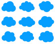 Set of blue clouds isolated on white background.