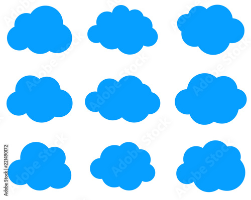 Fototapeta Set of blue clouds isolated on white background.