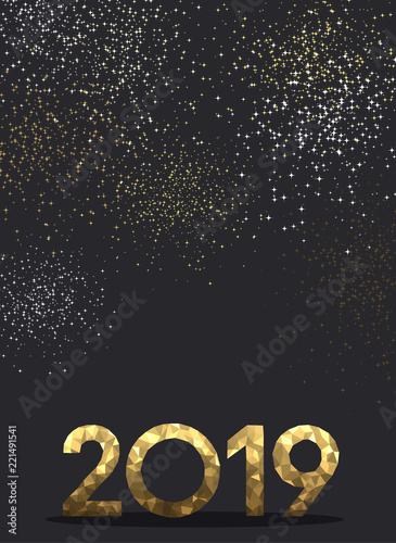 grey new year background with gold mosaic 2019 sign