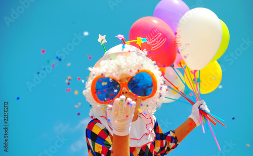 canvas print picture funny clown with balloons