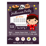 cute halloween party poster with girl devil costumes - 221508193