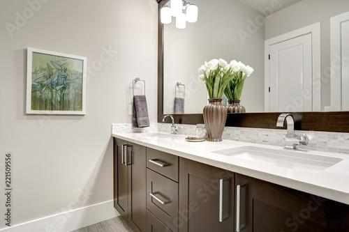 Łazienka nowoczesne wnętrze z ciemnymi szafkami z twardego drewna i dużym lustrem