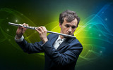 Serious classical flutist with fabled sparkling wallpaper - 221513712