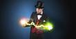 Leinwanddruck Bild - Magician sparkling super power between his two hands