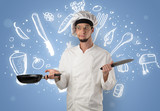 Young cook with kitchen instruments and drawn recipe concept on wallpaper - 221519744