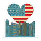 usa flag heart and buildings - 221519908