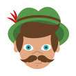 Irish man head with mustache and hat