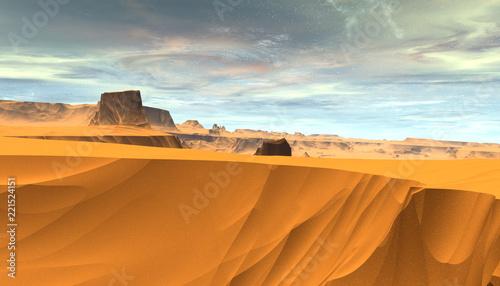 Alien Planet. Mountain. 3D rendering - 221524151