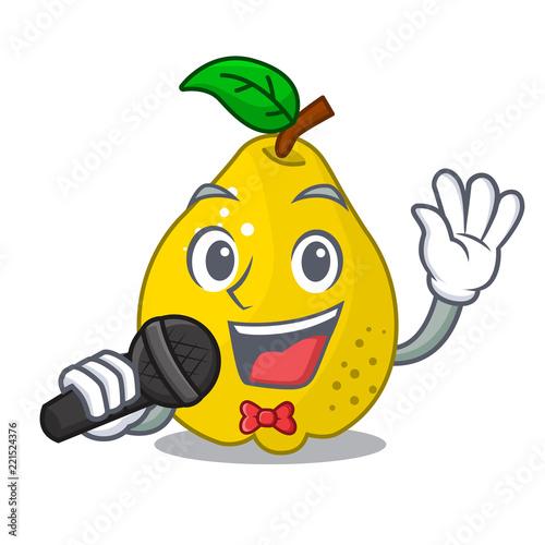 Fototapeta Singing ripe yellow quince fruit on mascot