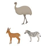Different animals cartoon icons in set collection for design. Bird, predator and herbivore vector symbol stock web illustration. - 221533964