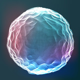 Glowing Abstract Sphere Vector. Data Wireframe. Explosion. Flowing Particles. Illustration - 221537961