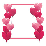 Romantic frame with hearts - 221542314