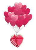 Romantic giftbox with heart balloons - 221542529