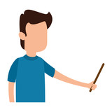 man teaching with pointing character - 221542530