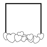 Romantic frame with hearts in black and white - 221544330