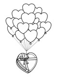 Romantic giftbox with heart balloons in black and white - 221544518