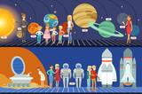 People in the planetarium set, innovation education museum horizontal vector Illustrations - 221549195