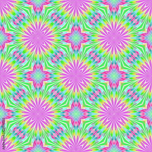 Naklejka Beautiful seamless flower pattern in stained-glass window style. You can use it for invitations, notebook covers, phone cases, postcards, cards, wallpapers and so on.