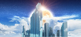 City in clouds 3d rendering - 221553103