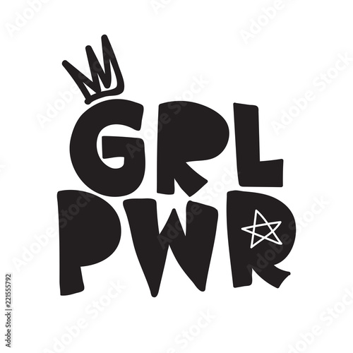 Grl Pwr Short Quote Girl Power Simple Cute Illustration For Print