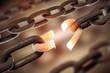 Leinwanddruck Bild - Broken chain link, business and freedom concept
