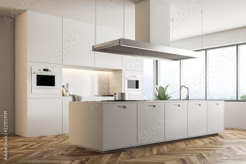 White kitchen corner with island