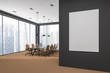Panoramic meeting room corner, city view, poster