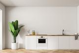 White kitchen island and plant, minimalism - 221559340