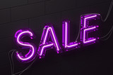 Neon purple sale sign black brick wall perspective - 221559775