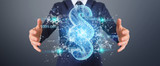 Businessman using 3D rendering digital paragraph law symbol - 221561767