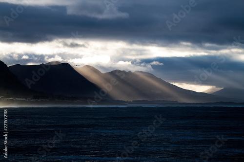 Early morning light spills over the Klein River Mountains not Walker Bay, Hermanus