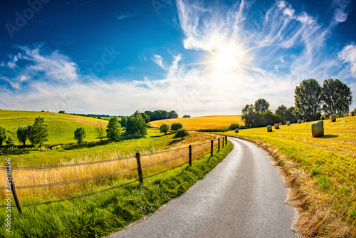 Landscape in summer with bright sun, meadows and golden cornfield in the background