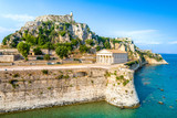 Hellenic temple and old castle at Corfu, Ionian Islands, Greece - 221585994