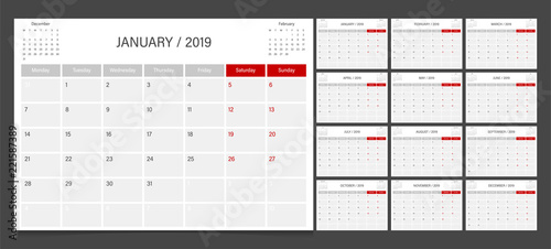 2019 calendar planner set week start Monday corporate design template vector.