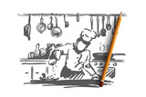 Cooking, chef, food, meal concept. Hand drawn isolated vector. - 221595317