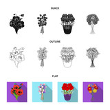 A bouquet of fresh flowers cartoon icons in set collection for design. Various bouquets vector symbol stock web illustration. - 221599925