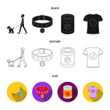 A man walks with a dog, a collar with a medal, food, a T-shirt I love dog.Dog set collection icons in cartoon style vector symbol stock illustration web. - 221600135