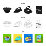 A bowl with laundry, iron, ironing press, washing powder. Dry cleaning set collection icons in cartoon style vector symbol stock illustration web. - 221600147
