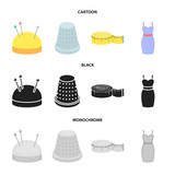 Pincushion with pins, thimble, centimeter, dress.Atelier set collection icons in cartoon,black,monochrome style vector symbol stock illustration web. - 221600908