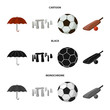 Umbrella, stone, ball, cricket .England country set collection icons in cartoon,black,monochrome style vector symbol stock illustration web.