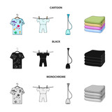 Vacuum cleaner, a stack of cloth, dirty and clean things. Dry cleaning set collection icons in cartoon,black,monochrome style vector symbol stock illustration web. - 221601142