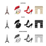 Eiffel tower, brush, hat .France country set collection icons in cartoon,black,monochrome style vector symbol stock illustration web.