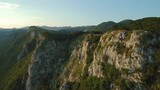 Aerial footage of Mountain range Gora plateau above Vipava valley in Slovenia central Europe - 221611535