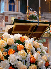 Pulpit with floral decoration church