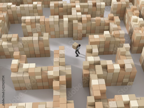 man carries boxes in the warehouse
