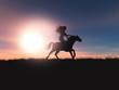 Leinwanddruck Bild - 3D female riding her horse in a sunset landscape